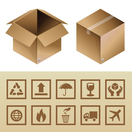 open flame: cardboard delivery box and package icons - set of logistics signs and symbols Illustration