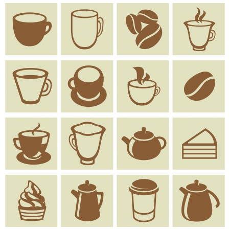 set of coffee and tea icons - cups, mugs, pots in flat retro style Vector