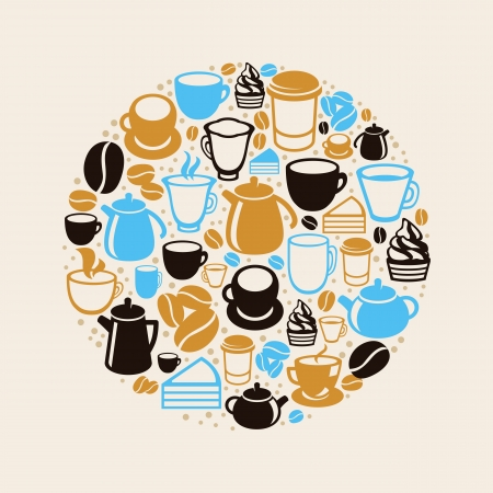 teatime: concept with coffee and tea icons - cups, mugs, pots in flat retro style