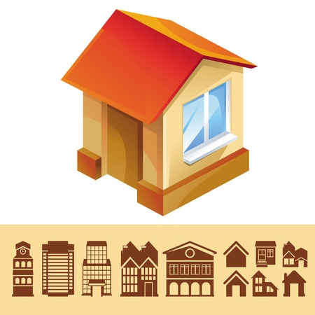 set of houses icons - buildings signs and symbols Stock Vector - 20558972