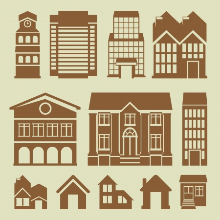 set of houses icons - buildings and architecture Stock Vector - 20558965