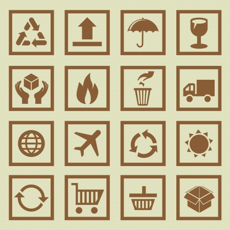 set of package signs and symbols - delivery and logistics Vector