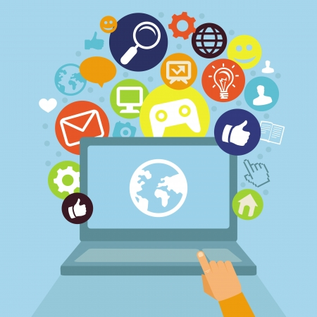 laptop with social media icons - internet concept in flat retro style Illustration