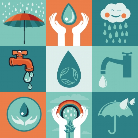 drops of water: set of retro flat banners - save water signs and icons Illustration