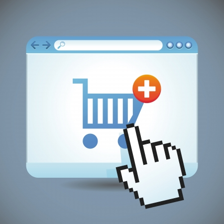internet shopping concept - shopping cart and browser window