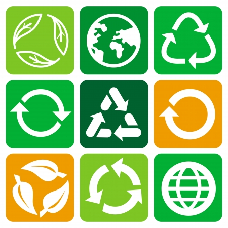 recycle signs and symbols - set of flat icons Vector