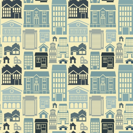 style: seamless pattern with houses and building icons in  flat retro style