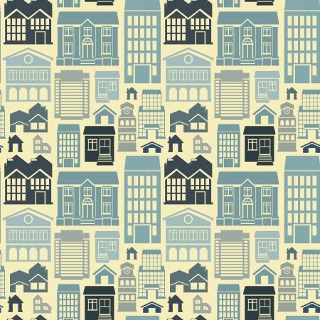 style: sin patrón, con casas y edificios iconos de estilo retro plana Vectores