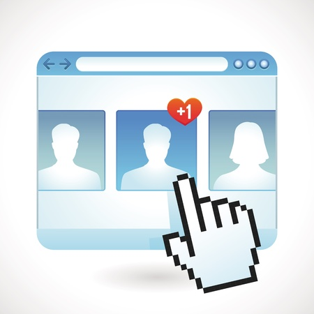 profile picture: social media concept - browser window and contact icons Illustration