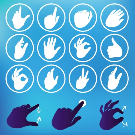 swipe: set of hand icons - touchscreen interface illustration Illustration