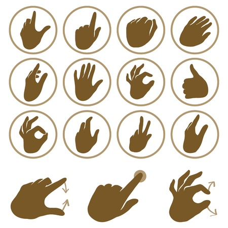 pinch: set of hand icons - touchscreen interface illustration Illustration