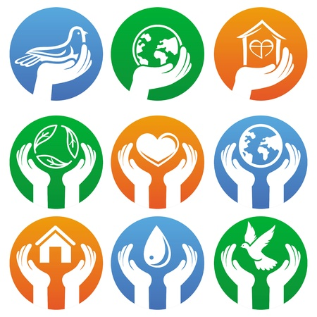 charity collection: hands and different symbols Illustration