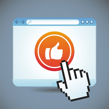 social media concept - browser window with like button Stock Vector - 20957966