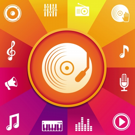 music concept - icons on round background in rainbow color Vector