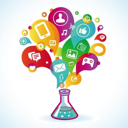 experimento: concepto de la comercializaci?el Internet - signo e iconos Vectores