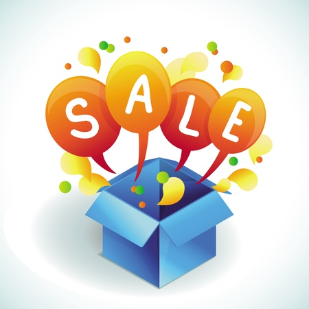 sale banner - bright shopping concept and blue box Vector
