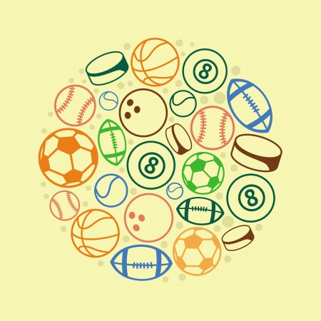 sport concept - balls and icons Vector