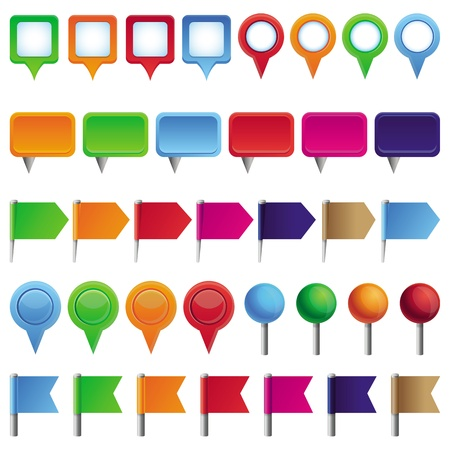 distance marker: collection with pins and marks for map in different colors