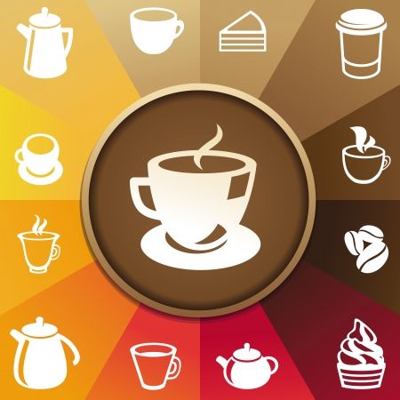 concept with coffee and tea icons - cups, mugs, pots Vector