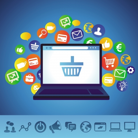 web browser: online shopping concept - laptop and techology icons
