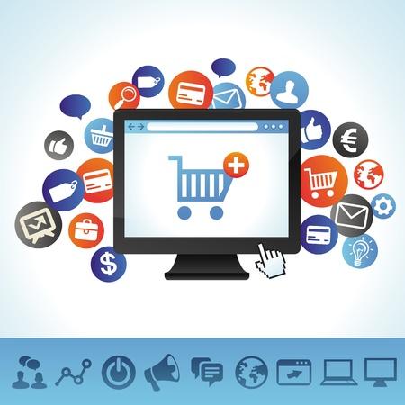 redes de mercadeo: concepto de compras en l�nea - los iconos de ordenador y Techology Vectores
