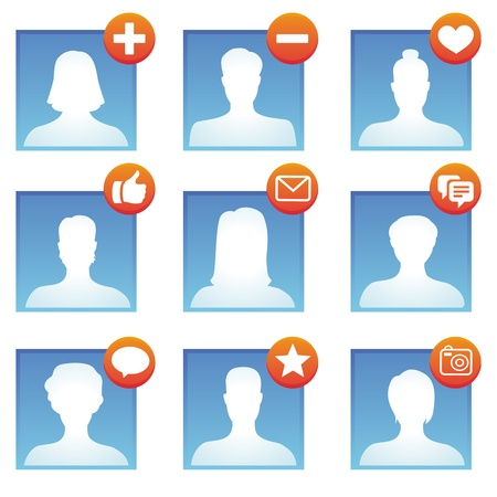 delete: social media icons with user avatars Illustration