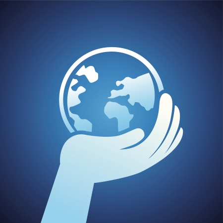 ecology concept - hand holding globe icon Stock Vector - 20958862