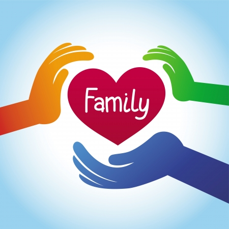 hands together: family concept - heart shape and hands Illustration
