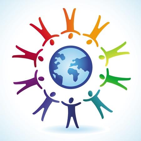 tolerancia: concepto de la tolerancia - iconos de la gente y el mundo en colores del arco iris