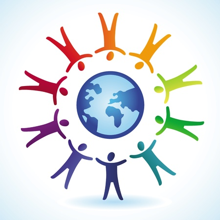 tolerance: tolerance  concept - people icons and globe in rainbow colors Illustration