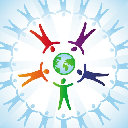 tolerance  concept - people icons and globe in rainbow colors Illustration
