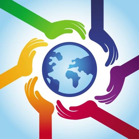 juntos: concepto de la tolerancia - iconos de la mano y el globo en el estilo de arco iris