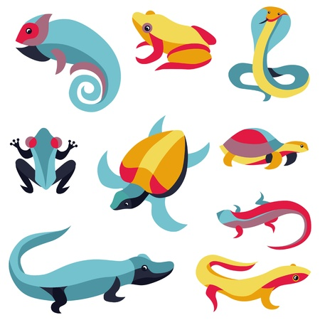 anuran: Vector set of logo design elements -reptiles signs - turtle, frog, snake, lizard