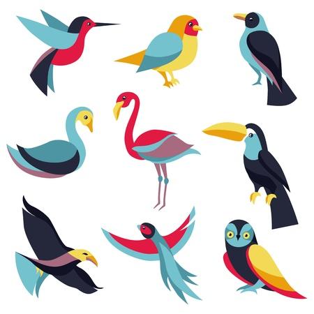 flamenco ave: Vector conjunto de elementos de dise�o del logotipo - aves signos y s�mbolos - de colibr�es, palomas, tucanes, cisnes, flamencos, loro, �guila, b�ho