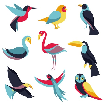 birds: Vector set of logo design elements - birds signs and symbols - humming bird, pigeon, toucan, swan, flamingo, parrot, eagle, owl