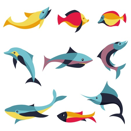 Vector set of logo design elements - fishes signs - whale, dolphin, salmon, shark