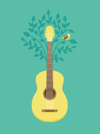 sings: Vector music poster in flat retro style - guitar and bird on tree