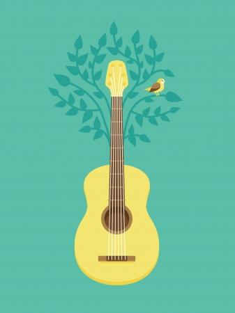 gitara: Vector poster muzyka w mieszkaniu stylu retro - gitara i ptaka na drzewie