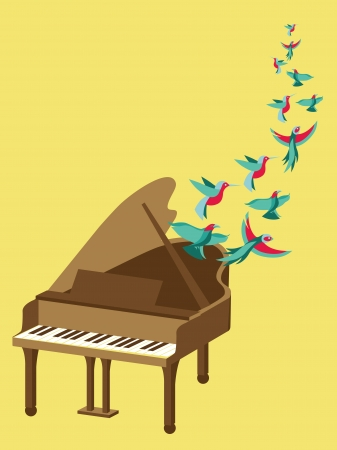 Vector music poster in flat retro style - grand piano and flying birds Stock Vector - 21316823