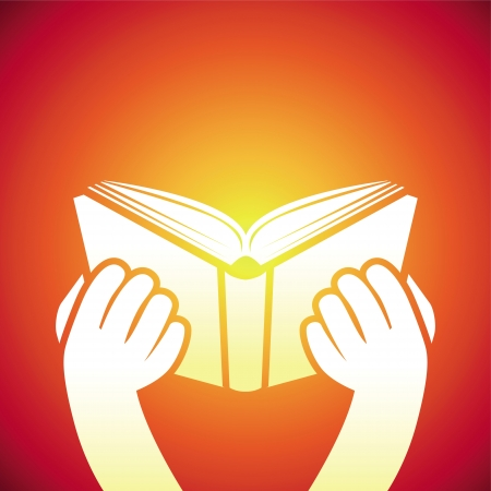 Vector book icon - hands holding textbook - education concept Stock Vector - 21316846