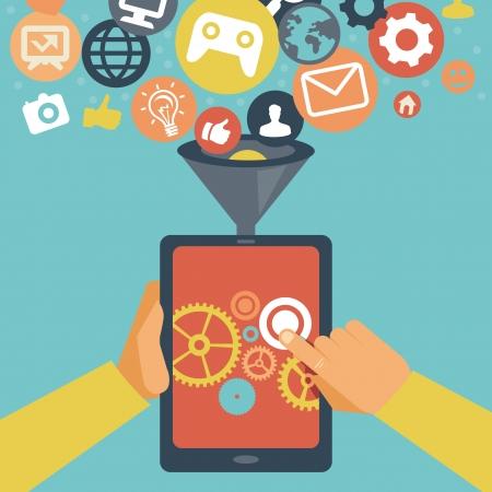 trabajo social: Vector aplicaci�n m�vil concepto de desarrollo - manos celebraci�n de Tablet PC