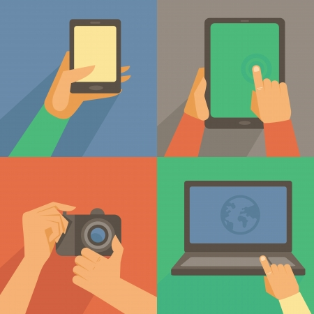 infographics touchscreen: Vector set of flat icons - mobile phone, laptop, digital camera, tablet pc