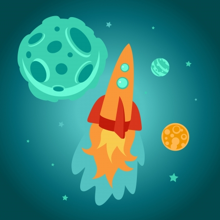 Vector cartoon space rocket and planets Vector