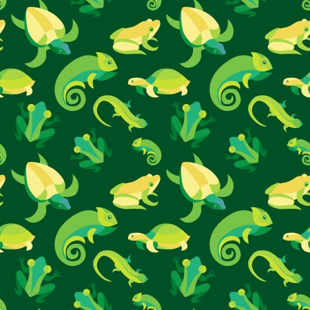 anuran: Vector seamless pattern with frogs and reptiles - abstract background