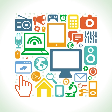 Vector set of technology icons in flat retro style - computers and phones Stock Vector - 21310935