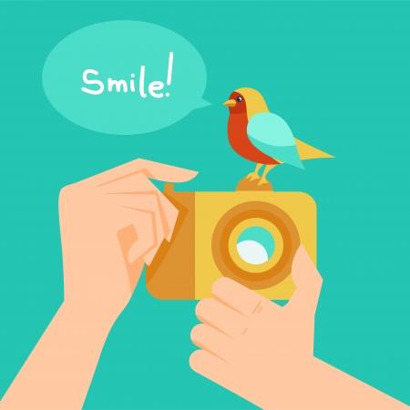 compact camera: Vector digital camera and cartoon bird - illustration in flat style