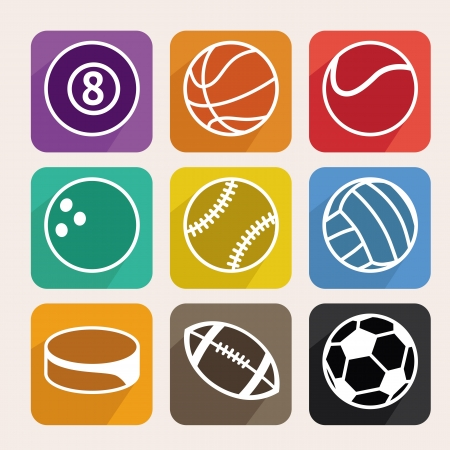 Vector set with sport balls - cartoon icons in flat style Stock Vector - 21316877