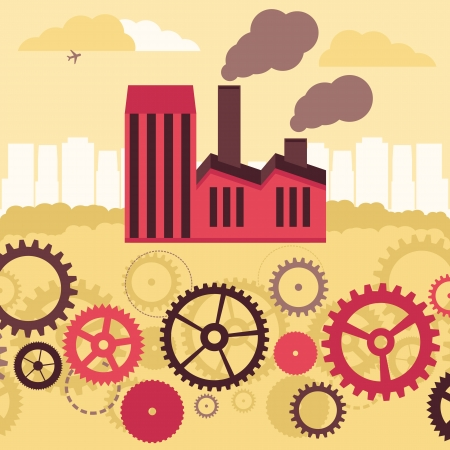air pollution cartoon: Vector concept - factory building and landscape - air and soil pollution