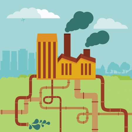 Vector concept - factory building and landscape - air and soil pollution Vector