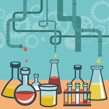 a solution tube: Vector concept - chemistry and science research - design elements for infographic in flat style